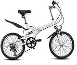 Bicicleta Plegable de 20 Pulgadas, Bicicleta de Carretera de 6 velocidades Variables, Bicicleta de montaña para niños, Bicicleta Plegable Ligera portátil