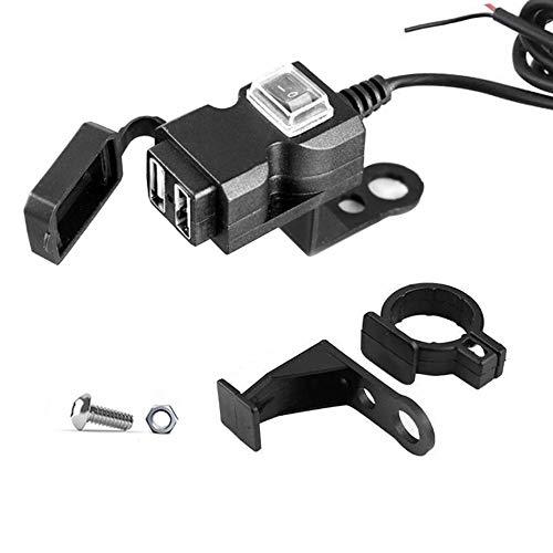Mottdam Dual USB-Buchse, Motorrad-Steckdose für den Lenker,USB-Ladebuchse,wasserdicht Dual-USB-Steckdose, Ladegerät Schwarz (9-90V)