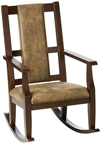 ACME Butsea Rocking Chair - - Brown Fabric & Espresso