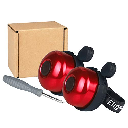 Eligara Bicycle Bell 2 Packs Aluminum Alloy Bike Bell with Loud Long Crisp Sound for Mountain Road Electric Bike Cycle Scooter Ebike Cruiser Tricycle MTB BMX Red 2 Packs