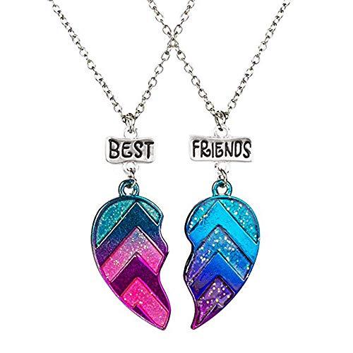MJARTORIA Damen Mädchen Jungen Halskette Silber Farbe Essen Regenbogen Eule Schmuck Anhänger mit Gravur Freundschaftsketten 2 Stück (Dunkelblau)