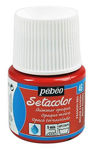 Pébéo 295046 - Tinte Opaco tornasolado Setacolor (1 Bote, 45 ml, Color Rojo pasión)