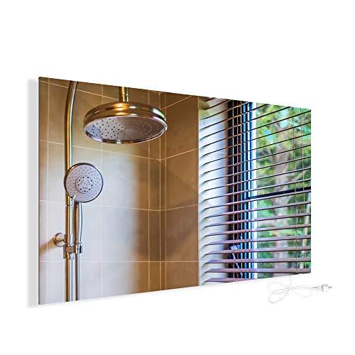Infrarotheizung 580W Spiegelheizung mit Ein-/Ausschalter Spiegel Heizung Infrarot Wandheizung Heizplatte Heizpaneel Elektrisch Energieeinsparend Carbon Crystal mit CE RoHS