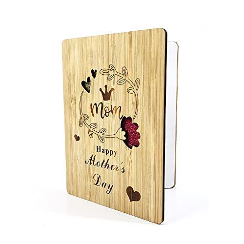 Muttertag Karte Aus Holz - Handgefertigte Beschreibbare Bambuskarte Muttertagskarte Hölzerne Geburtstagskarte Glückwunschkarte Muttertagsgeschenk für Mama, Mutter,Geschenke, Dankeskarte, Geschenkkarte