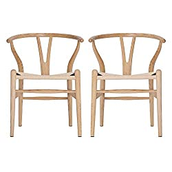 VODUR Wishbone Hans Vagner Mid Century Chair Natural Solid Solid Wood Dining Chairs Rattan