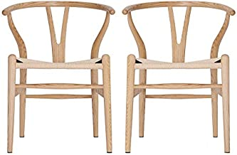 VODUR Wishbone Chair Natural Solid Wood Dining Chairs/Hans Vegner Y Chair Rattan and Wood Accent Armrest Chair (Ash Wood + Natural Wood Color)