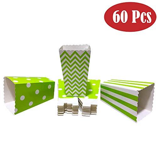 Winiron 60pcs Cajas de Palomitas Cartón Caramelo Contenedor Cine Pequeñas Cajas de Palomitas de Maíz 12 x 7.5cm (Verde)