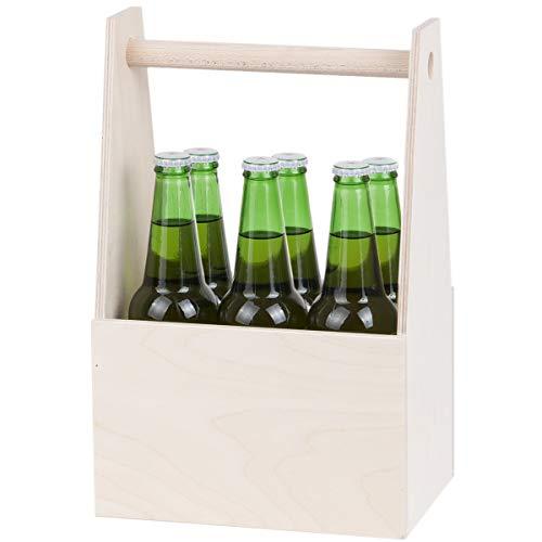 Lot de 6 bouteilles de bière en bois