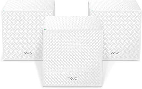 Tenda MW12-3 Wi-Fi Mesh, Tri-band, 3 Gigabit Ports, Copertura Wi-Fi fino a 560 MQ, Supporta 100 Dispositivi Collegati, Compatibile Alexa, Confezione di 3