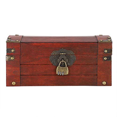 Caja de almacenamiento vintage con cerradura organizadora para pendientes, pulseras, anillos, collares, vitrinas, duradera[#2], caja de madera para joyas, joyeros