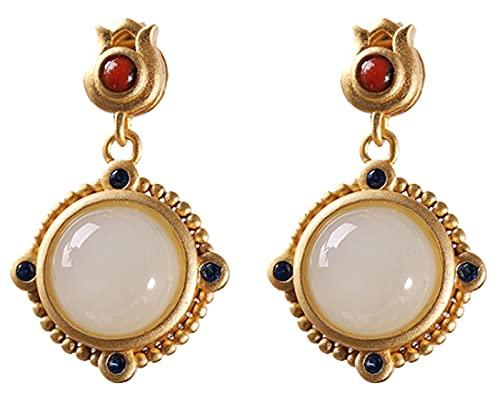 CHXISHOP Pendientes para mujer, plata de ley 925, chapados en oro, pendientes de jade Hetiano, para niñas, damas