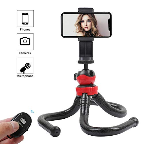 KTUPA Flexible Phone Tripod, Waterproof Travel Tripod for iPhone with Smartphone Mount Remote Control, Portable Tripod for Camera Smartphone and Microphone