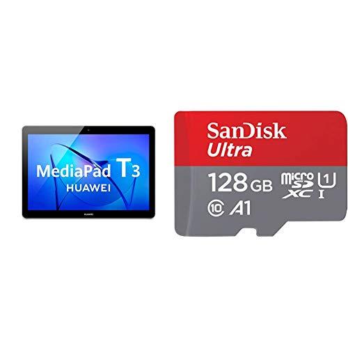 Huawei Mediapad T3 10 - Tableta 9.6', HD IPS, WiFi, Procesador Quad-Core Snapdragon 425, 2GB RAM, 16GB Memoria Interna, Android 7, Color Gris + SanDisk SDSQUA4-128G-GN6MA Clase 10, 128 GB, Rojo/Gris
