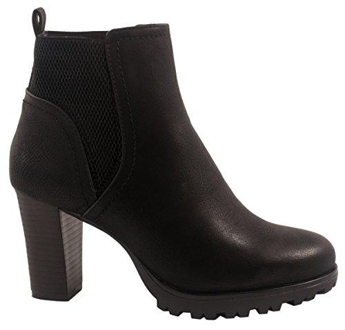 Jumex Damen Stiefeletten Ankle Boots Chunkyrayan 949-GA-Schwarz-37