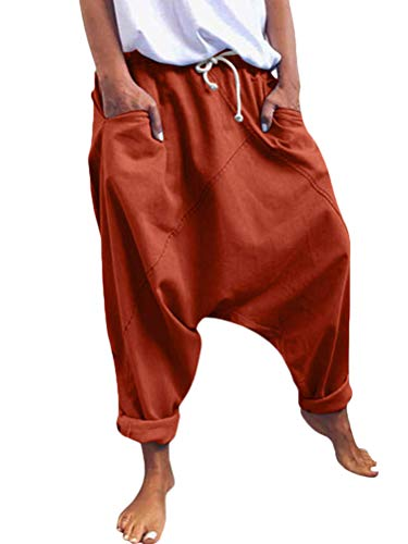 Onsoyours Damen Haremshose Aladinhose Yoga Pumphose Baggy Ballon Yoga Hose Sweatpants Jogginghose Hippie Hose Haremshose Mit Tiefem Schritt Z2 Orange M
