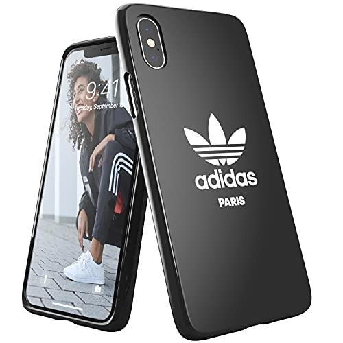 adidas Hülle Entwickelt für iPhone X/XS Hülle, Fallgeprüfte Hüllen, stoßfeste erhöhte Kanten, Original Paris Snap Case Schutzhülle, Schwarz Weiß Logo