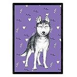 Nacnic Poster de Husky siberiano morado. Lámina decorativa de perros....