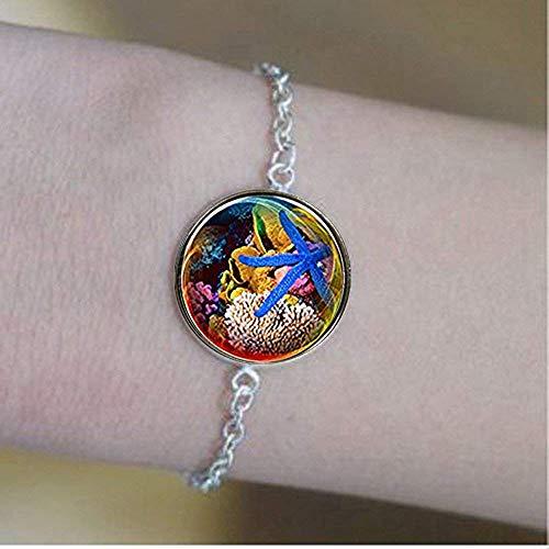 Pulseras de estrella de mar azul, hermosas joyas de escena del océano, regalos de cúpula de cristal