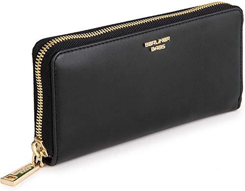 Berliner Bags Premium Geldbörse Lyon Gold mit RFID Schutz für Damen Portemonnaie Ledergeldbörse mit Reißverschluss aus Leder Schwarz
