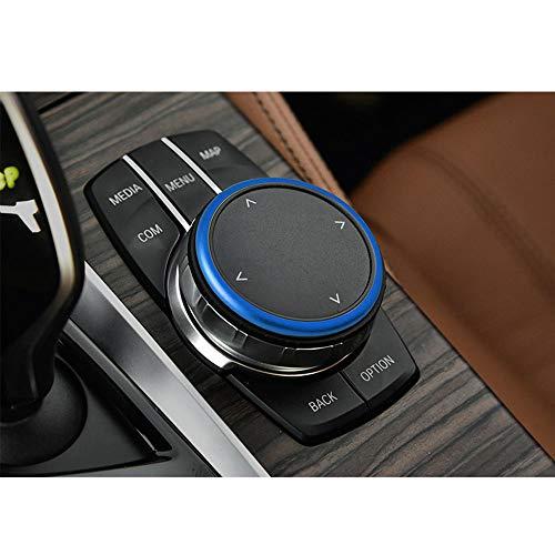 Thor-Ind Aluminium-Multimedia-Knopf-Abdeckung, Ring, Aufkleber, kompatibel mit BMW 1 2 3 4 5 6 7 Serie X3 X4 X5 X6 Mittelkonsole iDrive Multimedia-Controller-Knopf (blau)