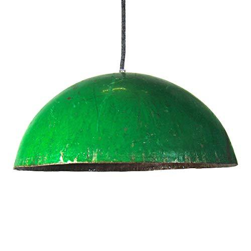 Ölfass Deckenleuchte aus Metall L/XL inkl. Textilkabel - E27 - Deckenlampe Industrial-Look - Upcycling Lampenschirm rund - Retro-Hängelampe - Vintage-Pendelleuchte (Grün, L)