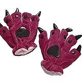 Moent Guantes de peluche con diseño de huellas de animales para mantener el calor de las garras de punto de dinosaurio, para protección contra el clima frío, guantes térmicos (color rojo)