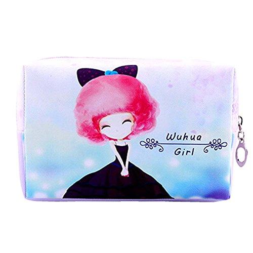Beautiful Girl Cartoon style Cosmetic Containers Cosmetic PU Sacs 16x5.5x10cm