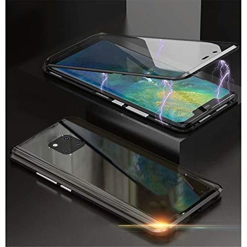 WALCD voor en achter dubbelzijdig 9H gehard glas doos metalen bumper cover, voor Huawei Mate 20 Pro, Black, Voor Mate 20 Pro
