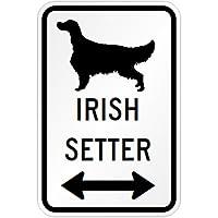 IRISH SETTER マグネットサイン ホワイト:アイリッシュセッター(小) シルエットイラスト&矢印 英語標識デザイン Water Resistan.