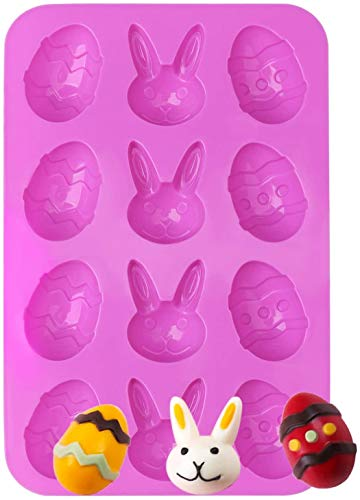 Ytbozjw Osterschokoladenform mit 12 Mulden, Osterhasen-Ei, Silikonform, Kuchendekoration, Eiswürfelform, Süßigkeiten, Kekse, Pudding, Backformen für Party, Kuchendekoration, Suger Craft DIY