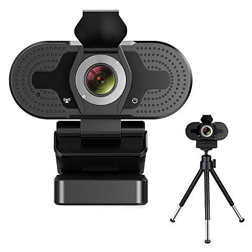 TROPRO Webcam für PC, Full HD 1080P Computer Kamera mit Abdeckung, USB Web cam mit Mikrofon, Cover, Erweiterbares Stativ, Streaming Camera für Skype, Zoom, Teleconference etc.