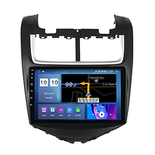 ADMLZQQ Android 10 Autorradio Navegación del Coche Estéreo Reproductor Multimedia GPS para Chevrolet Aveo 2014-2017 FM/Control del Volante/Bluetooth/cámara de visión Trasera,M300s