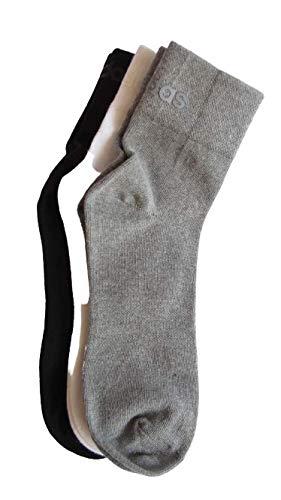 Adidas Men's Cotton Ankle Socks (Pack of 3) (AD-0277-FS0627_White/Grey Mel/Black_OS)