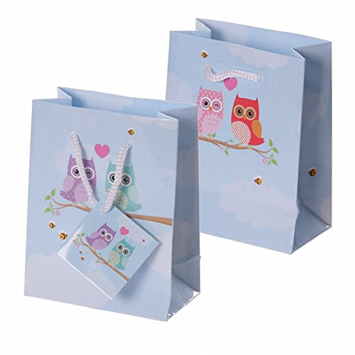 Fun Love Owls Print Small Glossy Gift Bag