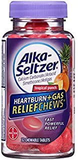 Alka-Seltzer Heartburn Plus Gas Relief Chews, Tropical Punch, 32 Count - Pack of 3