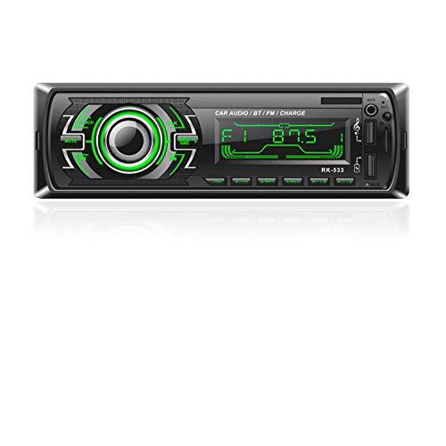 Bosszi Stereo Car Radio, Car Radio 4x60W Bluetooth 1Din FM Radio, Reproductor de MP3 Bluetooth Manos Libres para Automóvil con Control del Volante, Compatible con RDS / AUX / USB / SD