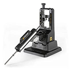 The Work Sharp Precision Adjust Knife Sharpener is an angle guided, 3-sided abrasive jig-and-clamp style sharpener that makes manual sharpening faster, easier and more precise than ever. ADJUSTABLE, REPEATABLE - Sharpening angle can be easily adjuste...