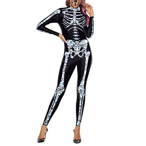 Petalum Skelett Overall Damen Halloween Weihnachten Karneval Kostüm Langarm 3D Rücken Zip Catsuit Bodycon Ganzkörperanzug Cosplay Bodysuit
