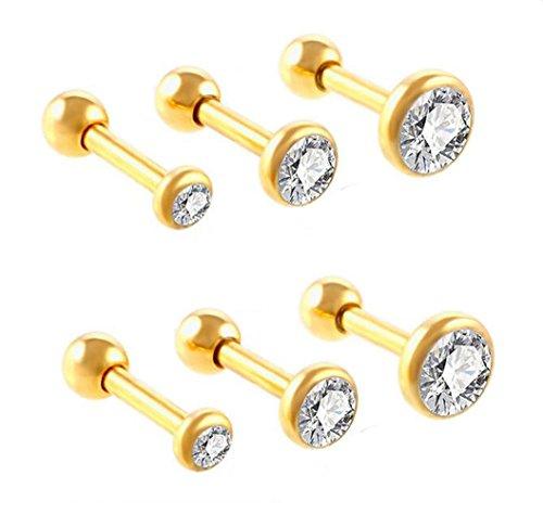 6 x 3 Damen-Ohrstecker in verschiedenen Größen, modisch, rund, Helix-Piercing für Tragus, Knorpel, Ohr One Size gold