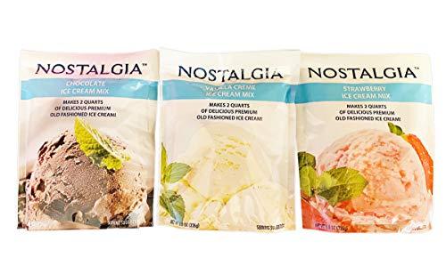 Nostalgia Ice Cream Mix 8 Oz Pack Of 3! 3 Flavors Chocolate, Vanilla And Strawberry! Makes 2 Quarts Of Delicious Premium Old Fashioned Ice Cream! Perfect For Homemade Neapolitan Ice Cream Dessert!