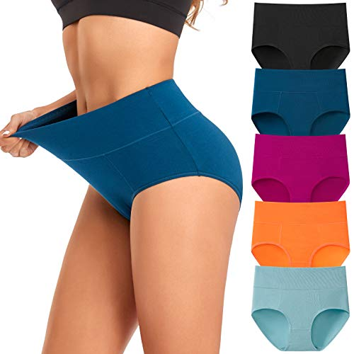 Women#039s Underwear High Waist Cotton Breathable Full Coverage Panties Brief Multipack Regular and Plus Size Assorted Colors C 5 Pack Medium