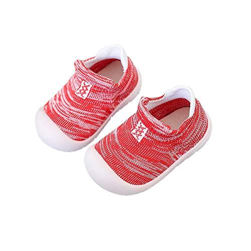 DEBAIJIA Zapatos para Niños 3-30M Bebés Caminan Niñas Antideslizantes Suela Blanda Malla Material Transpirables 23/24 EU Rojo (Tamaño Etiqueta 20)