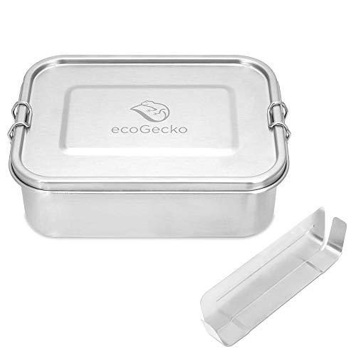 ecoGecko® Premium Brotdose aus Edelstahl | auslaufsicher & dicht | Die hochwertige Lunchbox für Kinder und Erwachsene | 1200ml Fassungsvermögen | inkl. herausnehmbarer Trennwand