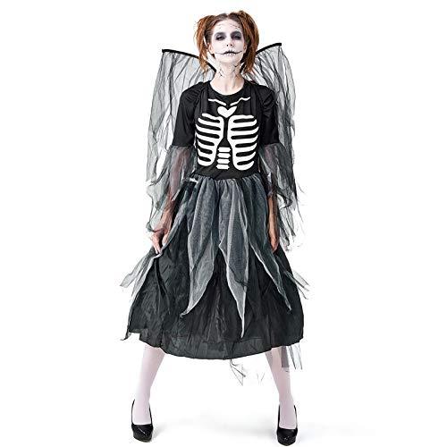 YYXDP Disfraces De Halloween para Mujeres Adultas, Vestidos De Cosplay De Halloween, Falda De Malla De Una Pieza De Ngel Oscuro CaDo, Estampado De Esqueleto De Zombi