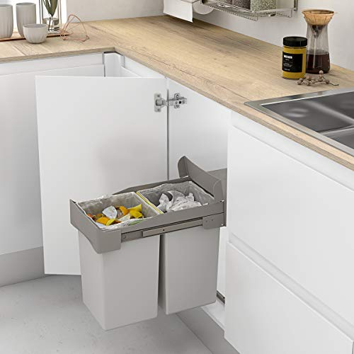 Casaenorden - Cubo de Basura extraíble con extracción Manual para Mueble de Cocina - Capacidad 14+14 litros