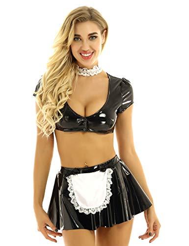 iiniim 3Pcs Damen Dienstmädchen Kostüm Cosplay Französisch Uniform Lack Leder Schwarz Crop Tops mit Minirock Halsband Schwarz B S