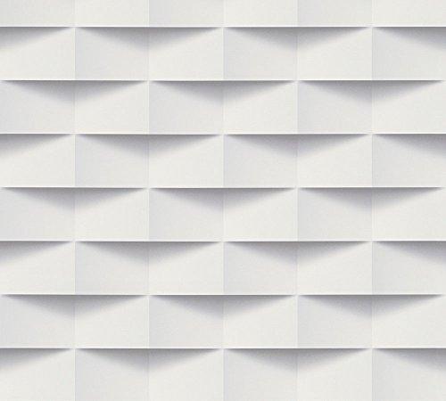 A.S. Création Vliestapete Scandinavian 2 Tapete in 3D Optik geometrisch 10,05 m x 0,53 m grau weiß Made in Germany 302481 30248-1