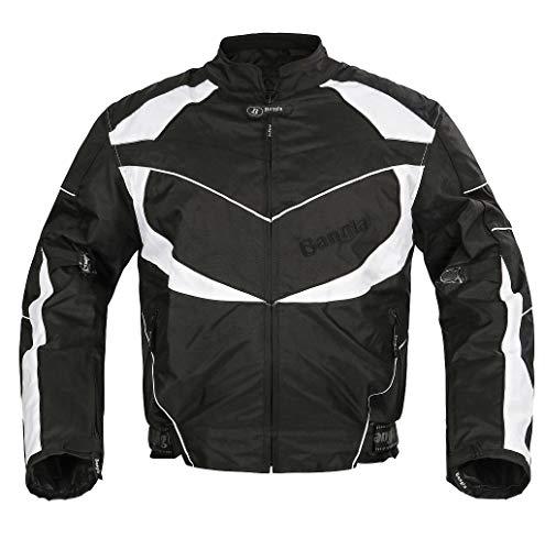 Ledershop-online Bangla Kurze Motorrad Jacke Motorradjacke Cordura schwarz-Weiss M