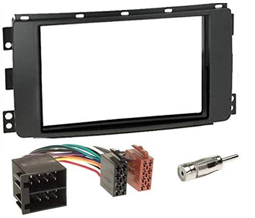 Sound-Way Kit Montaje Autoradio, Marco 1 DIN Radio de Coche, Caja de Almacenamiento, Adaptador Antena, Cable Adaptador Conector ISO, Compatible con Smart Car ForTwo 2007-2010
