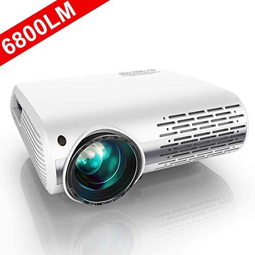 Proyector, YABER Proyector Full HD 1080P 6800 Lúmenes Proyector Cine en Casa con Regulación Trapezoidal 4D, con Dos Altavoces Estéreo Alta Fidelidad y Sistema de Refrigeración de Tres Ventiladores